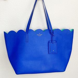 Kate Spade blue and teal large shoulder tote